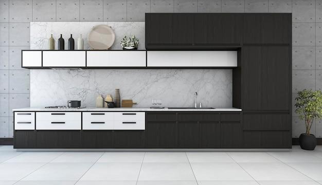 3d che rende cucina minima e retro nella progettazione del sottotetto