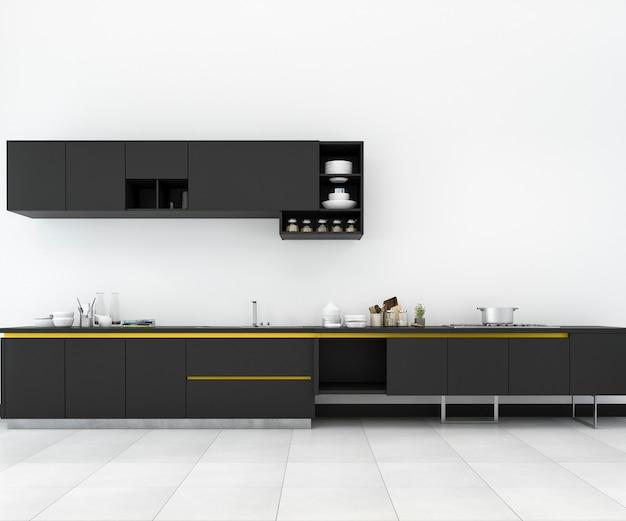 3d che rende cucina minima gialla e nera e retro nella progettazione del sottotetto