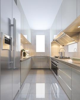 3d che rende cucina moderna d'annata scandinava con area pranzante