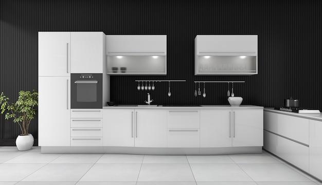 3d che rende cucina moderna nera con il contatore bianco