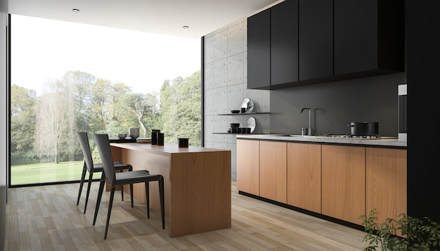 3d che rende cucina nera moderna con legno incorporato