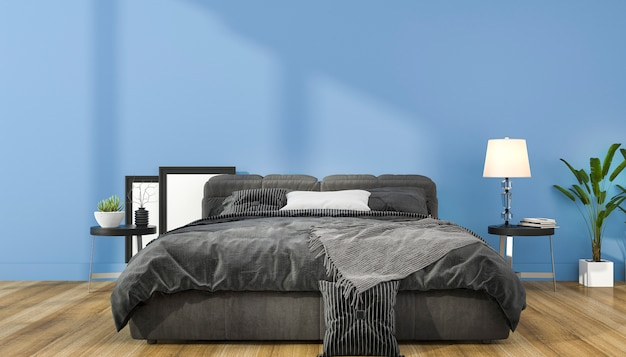 3d che rende derisione minima blu d'annata sulla camera da letto nello stile