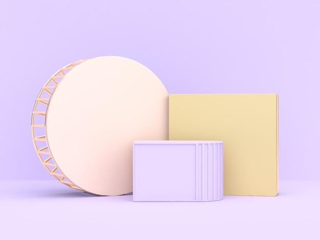 3d che rende forma geometrica astratta viola-viola molle