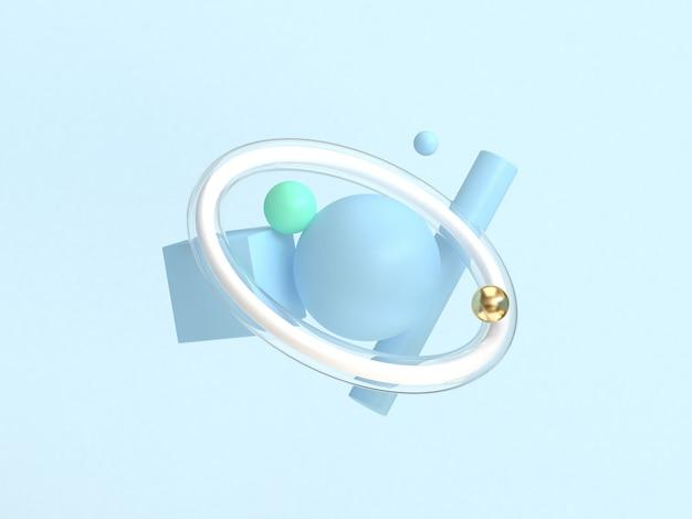 3d che rende forma geometrica che galleggia fondo blu astratto minimo