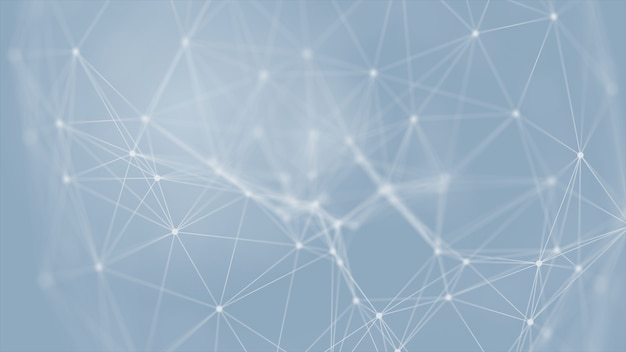 3d che rende futuristico astratto con le linee d'ardore del collegamento su fondo blu, scienza, affare, comunicazione, medico, concetto della tecnologia. struttura del plesso. illustrazione