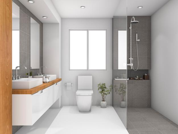 3d che rende il bagno bianco minimo di legno e di pietra