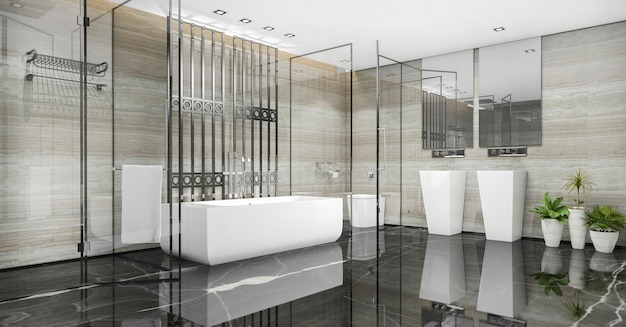 3d che rende il bagno moderno del sottotetto con la decorazione di lusso delle mattonelle