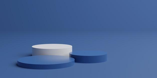 3d che rende il podio blu classico del piedistallo per i prodotti di lusso.