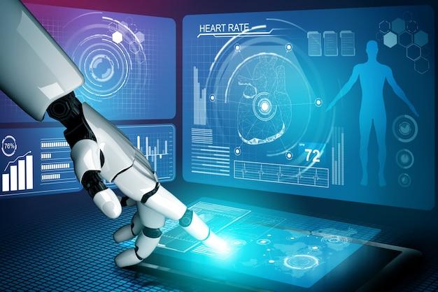 3d che rende il robot medico di intelligenza artificiale