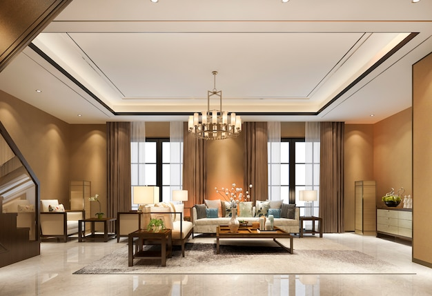 3d che rende il salone di legno di tono caldo classico di lusso d'annata vicino alla decorazione del candeliere e della scala con il soffitto alto