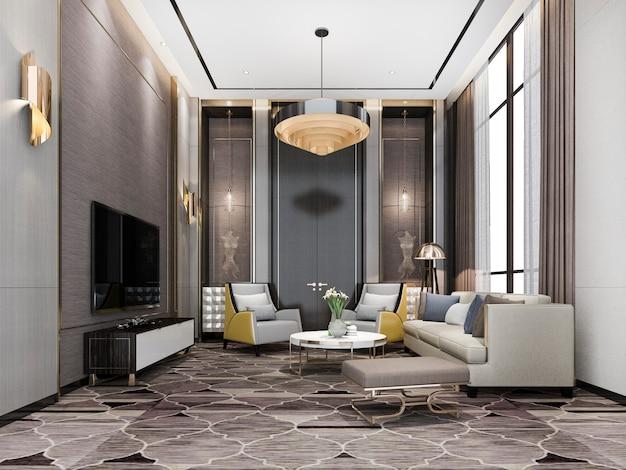 3d che rende il salotto di lusso classico dell'ingresso del salone con il candeliere e la decorazione