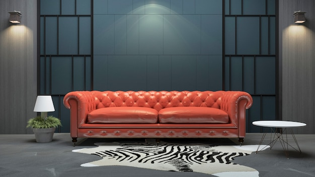 3d che rende il sofà di cuoio rosso nel salone di stile del sottotetto