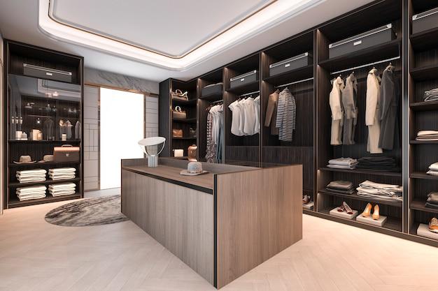 3d che rende il sottotetto minimal in legno scuro cammina nell'armadio con guardaroba