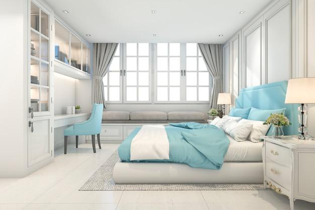 3d che rende la bella camera da letto d'annata blu del bambino