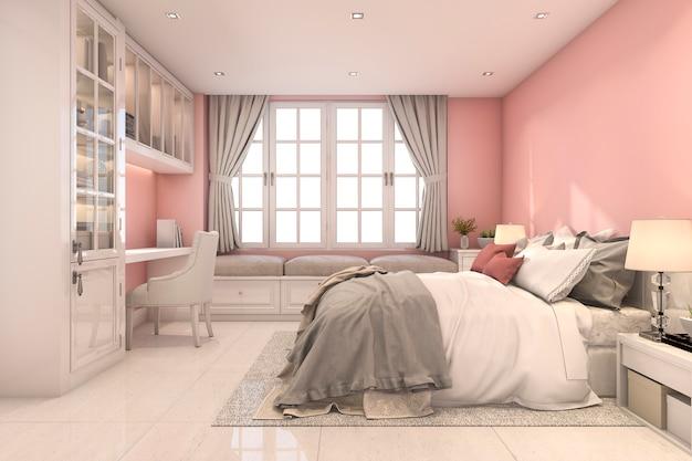 3d che rende la bella camera da letto d'annata rosa del bambino