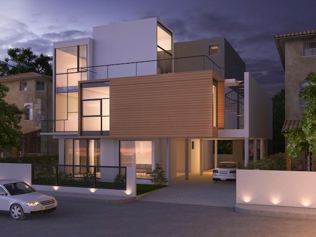 3d che rende la bella casa con mattoni a vista nera moderna vicino al parco ed alla natura alla notte