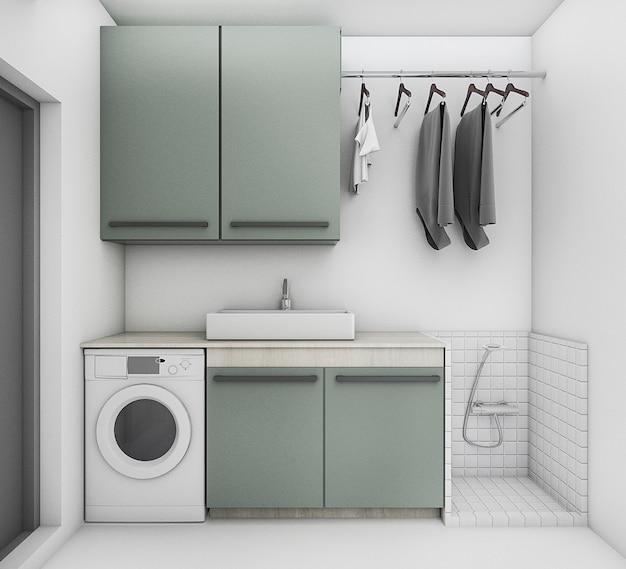 3d che rende la bella lavanderia con stato pulito