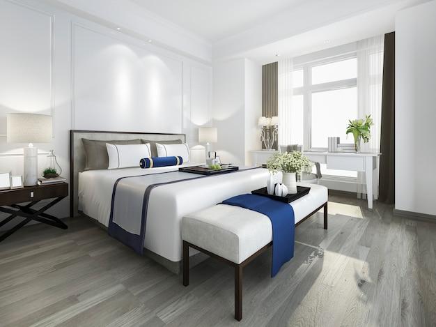 3d che rende la bella serie di camera da letto d'annata blu in hotel con la tv e la tavola di lavoro