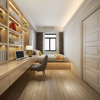 3d che rende la bella serie di camera da letto di lusso in hotel con la tv e la tabella di funzionamento