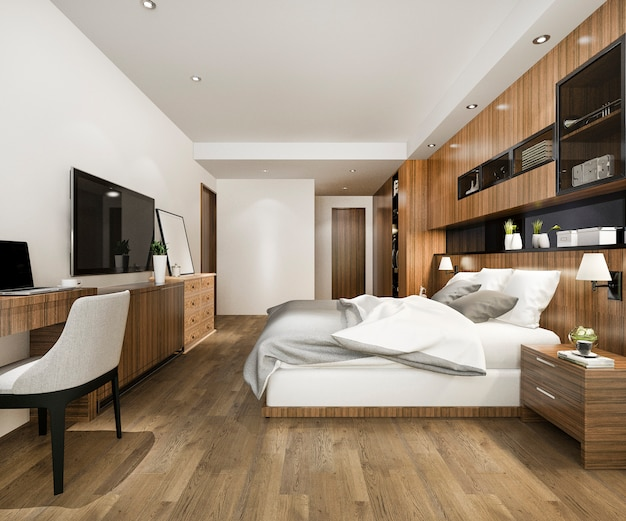 3d che rende la bella serie di camera da letto di lusso in hotel con la tv e la tavola di lavoro