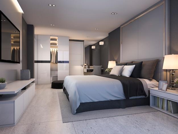 3d che rende la bella serie di camera da letto di lusso in hotel con la tv