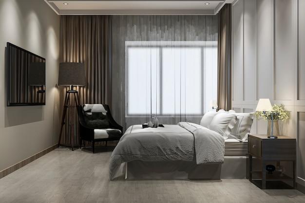 3d che rende la bella serie di lusso d'annata della camera da letto in hotel con la tv