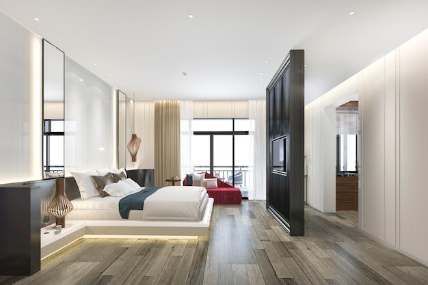 3d che rende la bella suite di lusso della camera da letto in hotel con la tv e il sofà rosso