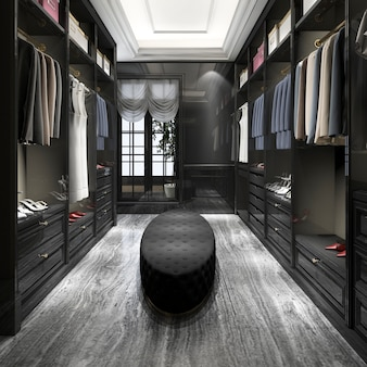 3d che rende la camminata di legno nera scandinava moderna nell'armadio con il guardaroba
