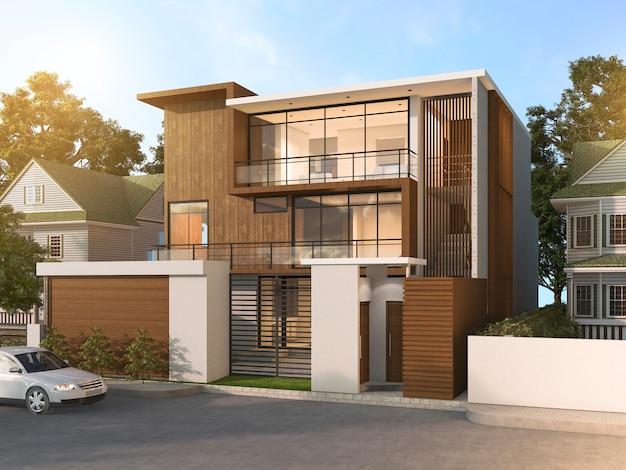 3d che rende la casa di legno piacevole di stile moderno in bello villaggio