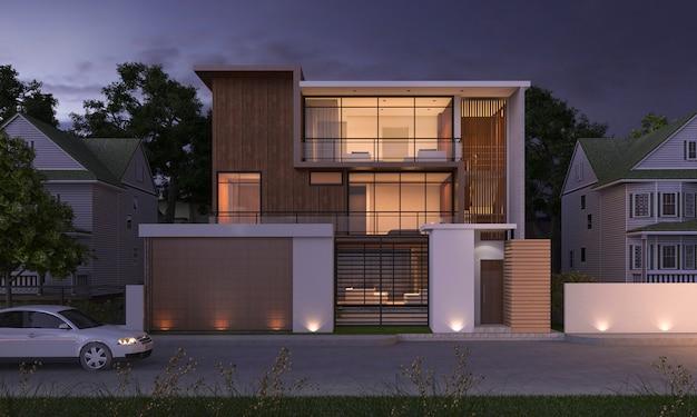 3d che rende la costruzione di legno di lusso di progettazione moderna vicino al parco e alla natura alla scena di notte