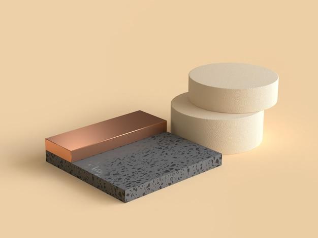 3d che rende la crema geometrica astratta di forma il nero e l'oro
