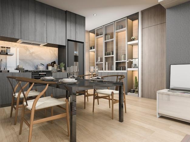 3d che rende la cucina moderna e di lusso bianca con il tavolo da pranzo e lo scaffale