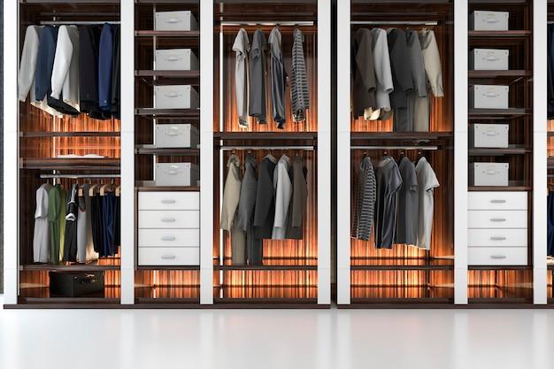 3d che rende la passeggiata scandinava moderna bianca di legno in armadio con il guardaroba