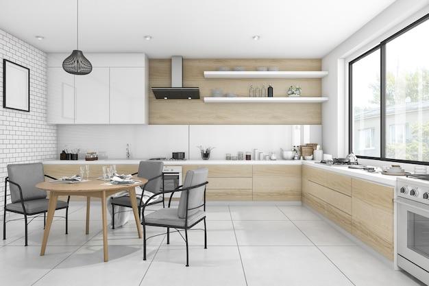 3d che rende la sala da pranzo moderna e minima bianca di stile