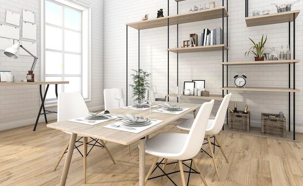 3d che rende la sala da pranzo piacevole del mattone con l'idea dello scaffale