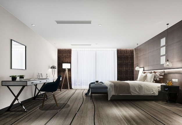 3d che rende la serie di camera da letto di lusso moderna in hotel