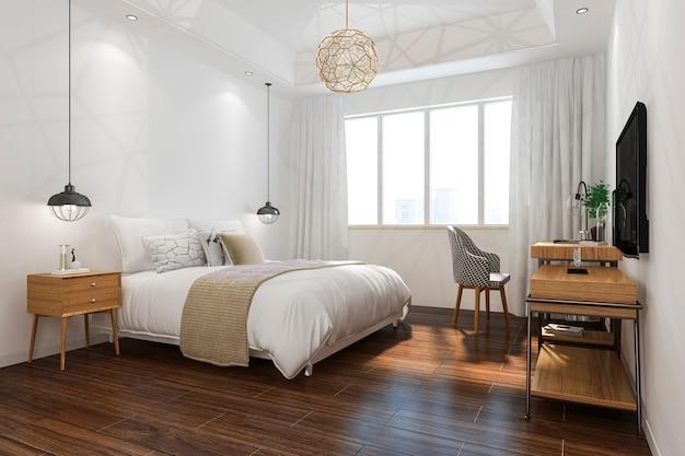 3d che rende la serie di camera da letto minima d'annata arancio in hotel con la tv
