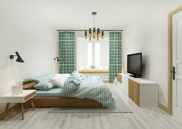 3d che rende la serie di camera da letto minima d'annata verde in hotel con la tv
