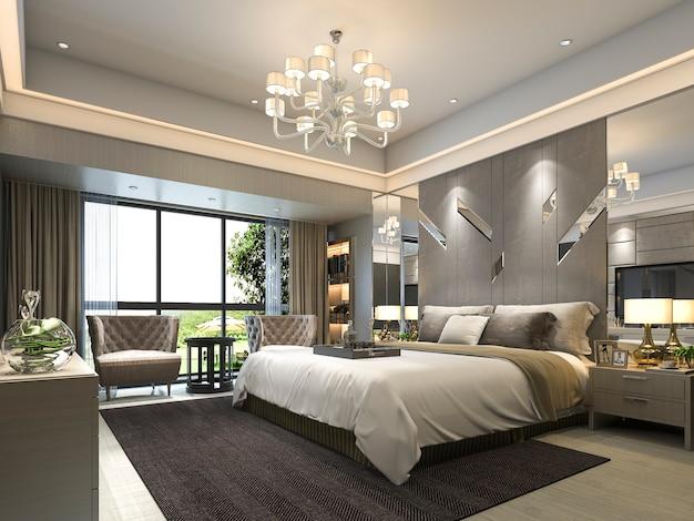 3d che rende la serie di camera da letto moderna di lusso in hotel