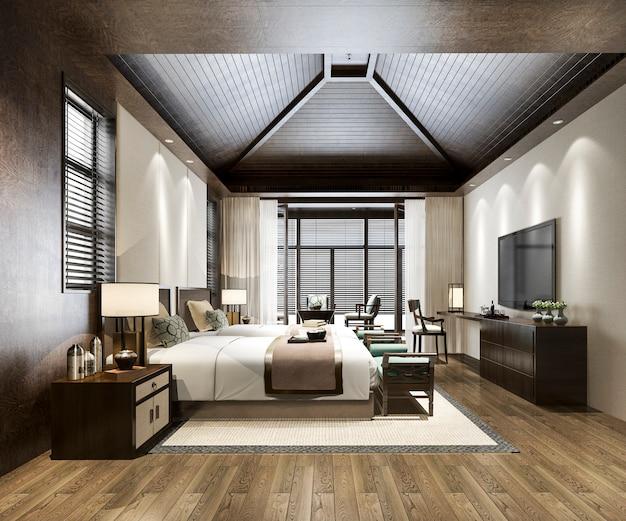 3d che rende la suite di camera da letto tropicale di lusso nell'hotel e nel ricorso di ricorso