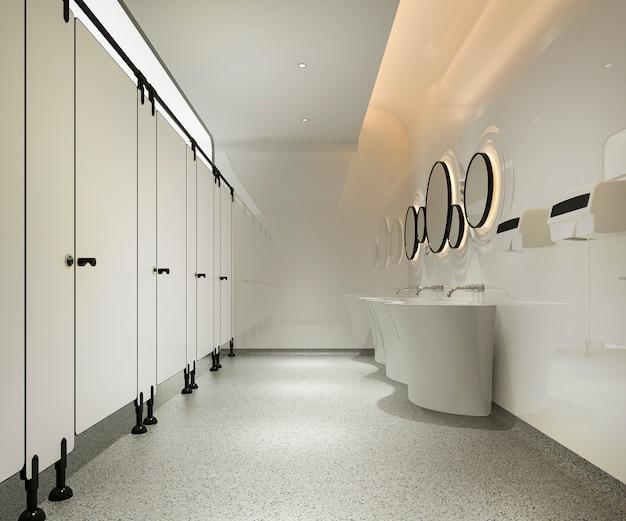 3d che rende la toilette pubblica di legno e moderna delle mattonelle