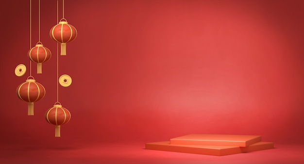 3d che rende le lanterne cinesi su fondo rosso