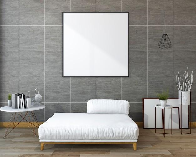 3d che rende parete grigia moderna con l'ammortizzatore bianco piacevole