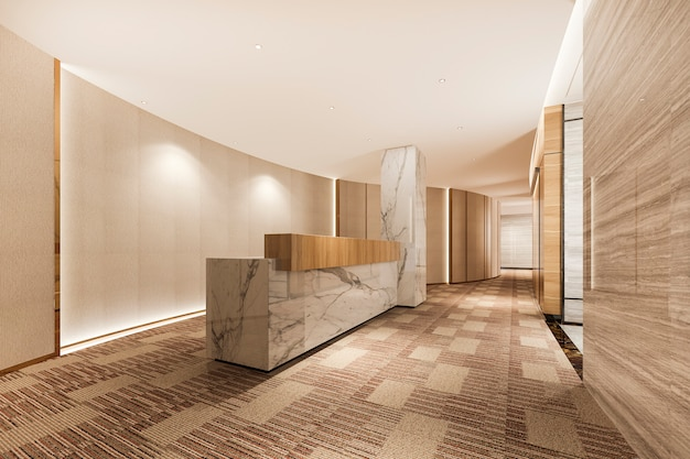 3d che rende ricevimento e salotto di lusso moderni dell'hotel e dell'ufficio con la decorazione di marmo