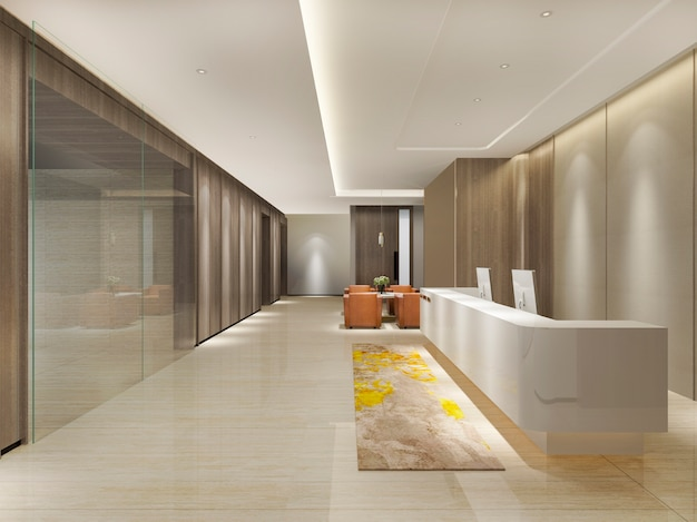 3d che rende ricevimento e salotto di lusso moderni dell'ufficio e dell'hotel