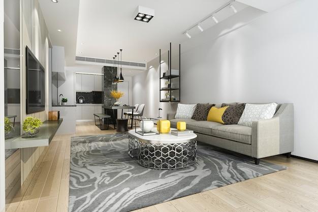 3d che rende sala da pranzo e cucina moderne con il salone con la decorazione di lusso