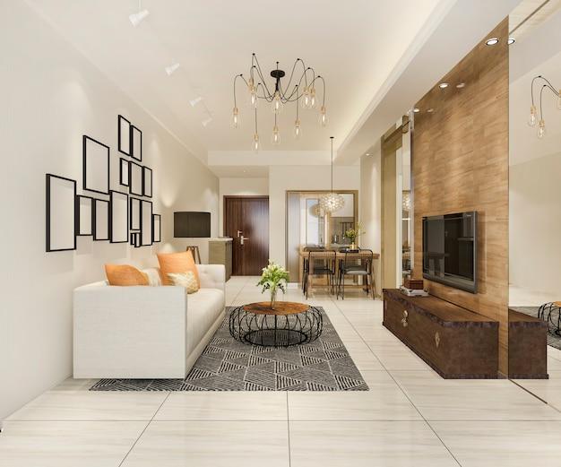 3d che rende sala da pranzo e salone moderni con la decorazione di lusso