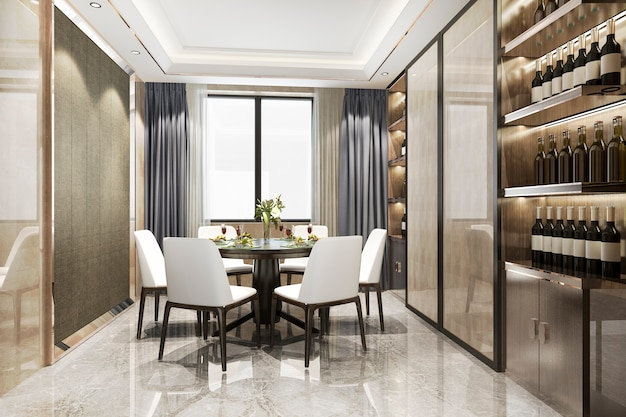 3d che rende sala da pranzo e salone moderni con lo scaffale di lusso del vino della decorazione
