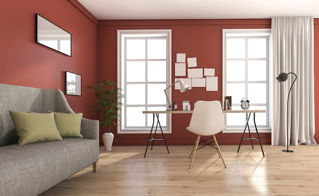 3d che rende salone d'annata rosso con mobilia piacevole