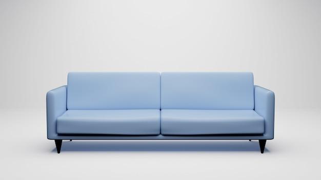 3d che rende sofà blu isolato su bianco. compreso il tracciato di ritaglio.